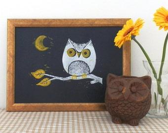 Night Owl Lino Print, bird print, bird art, children's wall art, kid's room print, spooky print, moon print, lino print hand printed linocut