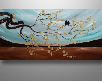 Abstract Painting,Tree Painting, Landscape Painting, Asian Decor, Cherry Blossom, Abstract Wall Art, Love Birds, Two Little Birds, Teal