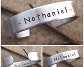 Boy's name bracelet - Ring bearer gift - Personalized boy bracelet - Jr. Groomsman gift - Boys Aluminum Cuff