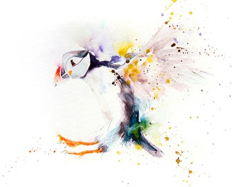 LIMITED edition print of my PUFFIN  4wall art, home decor, nursery art, wildlife animal art.  hand signed, illustration, animal art