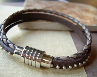 Triple Strand Leather Bracelet with Stainless Steel Magnetic Clasp, Mens Jewelry, Mens Bracelet, Leather Bracelet, Womens Bracelet , Womens