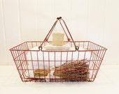 Vintage Market Basket Large Red Wire Basket with Handles