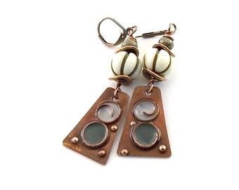Rustic Metal Earrings - Rustic Circles Enamel Earrings - Boho Earrings - Gypsy Earrings - Industrial Earrings - Tribal Earrings - AE009