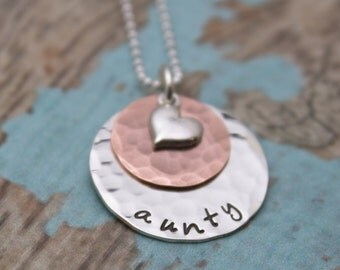 Sterling Silver and Copper Layered Personalized  Necklace with Heart Charm Grandmother or Mother Necklace Hand Stamped Jewelry