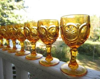 Vintage Amber Wine Red Cliff Knobby Bulls Eye Glassware