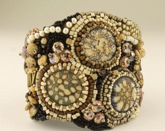 Beadwork Cuff Bracelet, Bead Embroidery, Beige, Gray, Brown, Black,  Ivory, Beadweaving Beaded Jewelry 'Sparkling Sands'