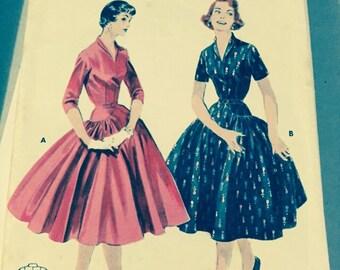 Butterick 7442 vintage full skirt pattern dress, misses size 12 DRESS sewing pattern size 12 bust 30  long line dress full skirt