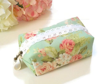 Floral Cosmetic Bag, Boxy Makeup/Cosmetic Bag, Boxy Zipper Pouch, Small Boxy Makeup Bag, Toiletry Bag, Makeup Storage