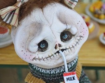 EXTRA SALE!! Filomena - halloween feast, bat, carton milk, Art Doll, sculpt, skull, skeleton, monsters, spooky, creature, creepycute, horror