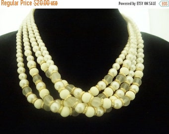"""20% off sale Vintage 18"""" 4 strand pearl necklace with glass clear accent beads in great condition,appears unworn"""