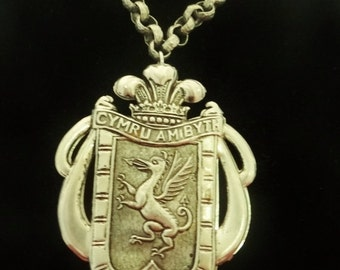 """20% off sale WALES FOREVER Cymru Ambyth Vintage silver tone 20"""" necklace with huge CHUNKY 4"""" Cymru Ambyth attached pendant in great conditio"""