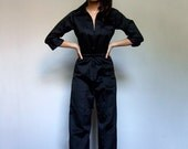 70s Black Jumpsuit Long Sleeve Womens Wide Leg One Piece Drawstring Waist Vintage 1970s Jumpsuit - Medium M