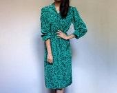 Bright Green Dress Black Abstract Print 80s Long Sleeve Collared Vintage Spring Pop Art Dress - Medium M