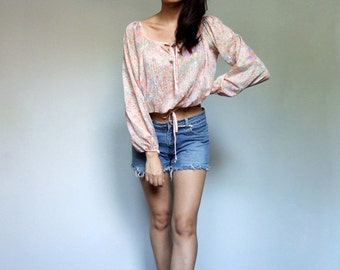 70s Crop Top Long Sleeve Sheer Pastel Cropped Blouse Boho Top Billowy Summer Festival Shirt Floral Boho Crop Top - Extra Small XS S