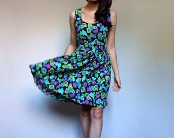 Colorful Sundress Vintage 90s Black Green Purple Simple Floral Summer Dress - Large L