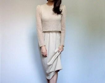 Beige Knit Dress Fall Long Sleeve Crochet Day Dress Vintage 70s Feminine Dress - Extra Small XS S