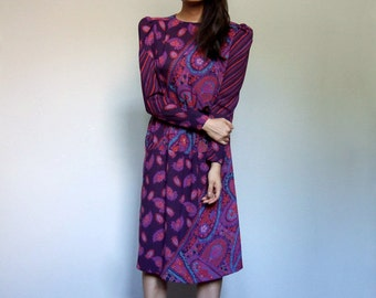 Sheer Paisley Dress 70s Floral Print Purple Red Puff Long Sleeve Knee Length Dress - Small S