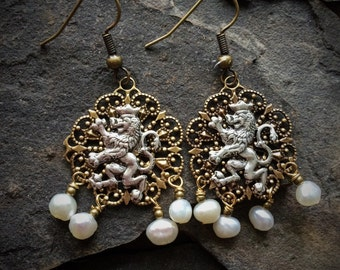 Medieval Lion and Pearl Teardrop Earrings