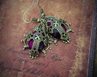 Purple Tudor Cross Earrings