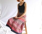 indigo ethnic tribal folk skirt embroidered Hmong
