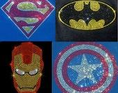 Choice of Superhero iron on rhinestone transfer applique super hero patch