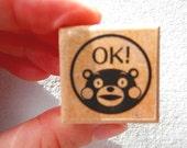 Kumamon Wooden Rubber Stamp - OK!