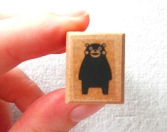 Small Kumamon Wooden Rubber Stamp