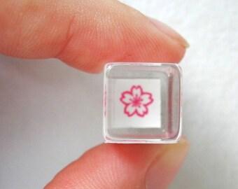 Cherry Blossom Stamp - Tiny Schedule Stamp - Kodomo no Kao - 8mm square
