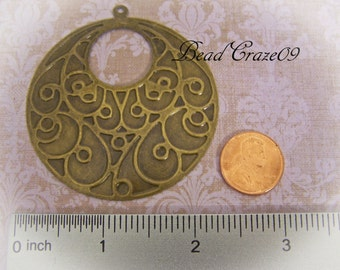 5 Pieces ~ Whimsical Pendant Stampings – Large Stamped Findings- Jewelry Making Links- Cold Connections