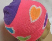 """American Girl Doll Hat, HOT PINK Hearts Skull Cap for 18"""" Doll - Breast Cancer Awareness"""