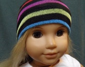 "American Girl Doll Hat, BLACK STRIPED Skull Cap for 18"" Doll"