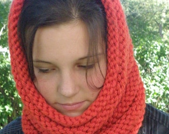 Hand Knit Cowl Infinity Scarf, BOSSO - TENNESSEE TANGO Ribbed Neckwarmer