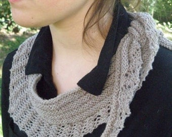 Hand Knit Lace Triangle Scarf, Light Grey SWEET SEPTEMBER (970)
