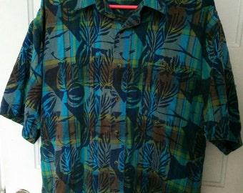 men's bugle boy plaid shirt print tiki xl grunge boho 80s