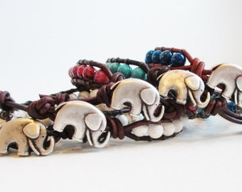 Happy Elephant Gemstone Bracelet - Beaded Leather Single Wrap Yoga Bracelet