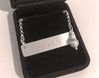 Personalised stamped necklace with sterling silver flat bar pendant, plain or with a bead or charm, Perth Western Australia