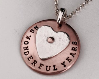 Personalised stamped copper pendant with a riveted Argentium sterling silver heart, no chain, Perth Western Australia
