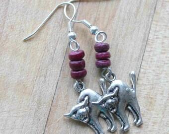 Silver Cat earrings,dark purple wood beads,Halloween,cat earrings,wood beads,silver cats,halloween cat earrings,movie prop,theater
