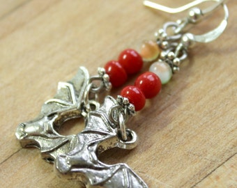 silver bat earrings,red beads,lim orange beads,Halloween,Halloween earrings,Bat earrings,Halloween bats,Halloween bat earrings,