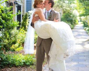 Single Layer Fingertip Short  Wedding Veil white, ivory or diamond