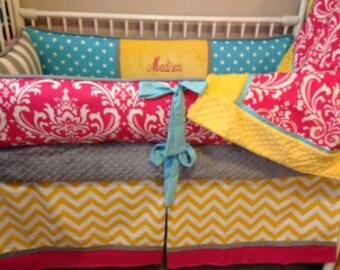 Baby bedding Crib set Girl Aqua, pink yellow Chevron DEPOSIT Down payment ONLY