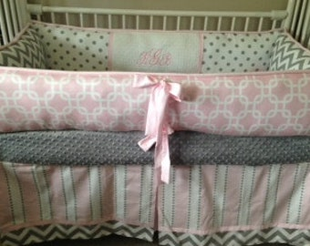Pink Gray Chevron Baby bedding Crib set girl DEPOSIT Down payment ONLY read details