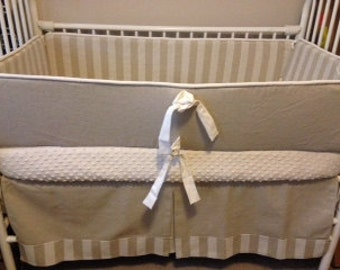 Linen stripe taupe Baby bedding Nuetral Crib set DEPOSIT Down payment ONLY
