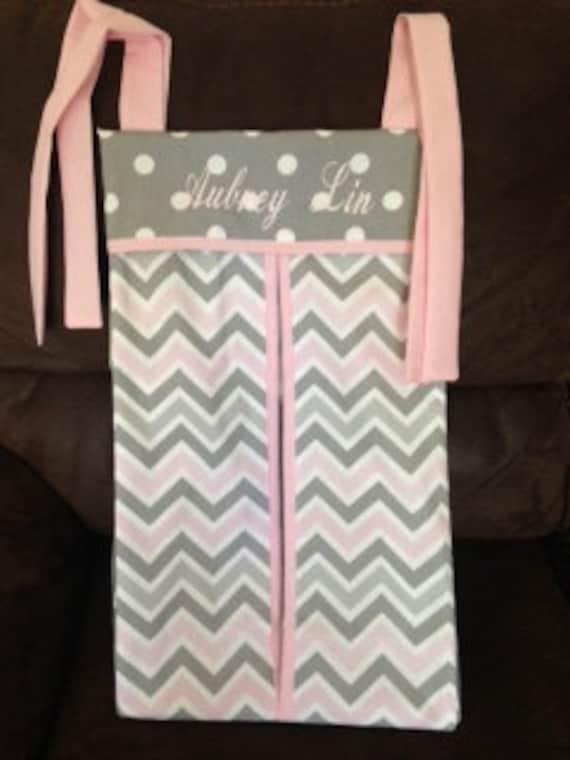 Pink Gray Chevron Diaper Stacker Holder Girl