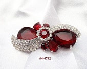 FREE SHIP Art Deco Red and Clear Rhinestone Brooch (4-4792)