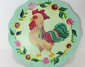 Hand Painted Rooster Chicken Wall Art
