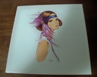 beautiful holland tile  mod girl signed