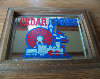 vintage cedar point souvenir framed  picture