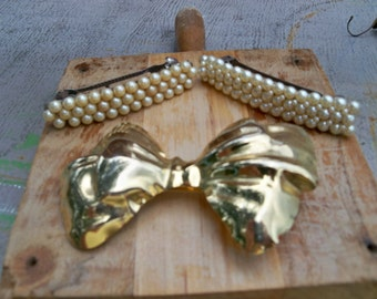 vintage hair bow and barretts