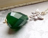Green stone necklace, green agate necklace, gemstone pendant, butterfly necklace